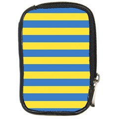 Horizontal Blue Yellow Line Compact Camera Cases by Mariart