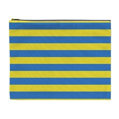 Horizontal Blue Yellow Line Cosmetic Bag (xl) by Mariart