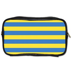 Horizontal Blue Yellow Line Toiletries Bags 2 Side by Mariart