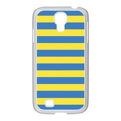 Horizontal Blue Yellow Line Samsung Galaxy S4 I9500/ I9505 Case (white) by Mariart
