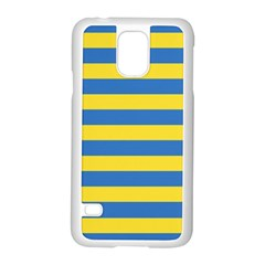Horizontal Blue Yellow Line Samsung Galaxy S5 Case (white) by Mariart