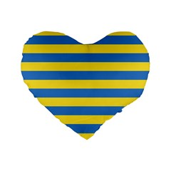 Horizontal Blue Yellow Line Standard 16  Premium Flano Heart Shape Cushions by Mariart