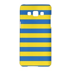 Horizontal Blue Yellow Line Samsung Galaxy A5 Hardshell Case  by Mariart