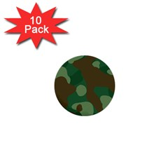 Initial Camouflage Como Green Brown 1  Mini Buttons (10 Pack)  by Mariart