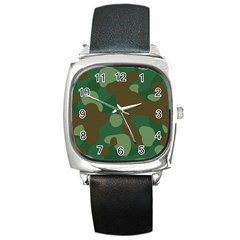 Initial Camouflage Como Green Brown Square Metal Watch