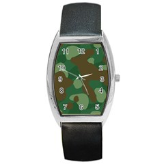 Initial Camouflage Como Green Brown Barrel Style Metal Watch by Mariart
