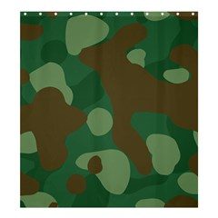 Initial Camouflage Como Green Brown Shower Curtain 66  X 72  (large)  by Mariart
