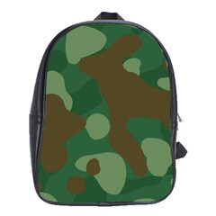 Initial Camouflage Como Green Brown School Bags(large)  by Mariart