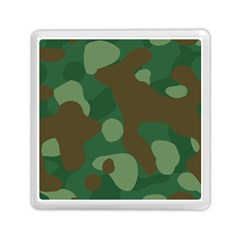 Initial Camouflage Como Green Brown Memory Card Reader (square)  by Mariart