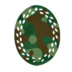 Initial Camouflage Como Green Brown Oval Filigree Ornament (two Sides) by Mariart
