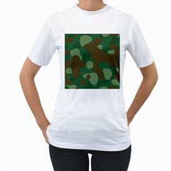 Initial Camouflage Como Green Brown Women s T Shirt (white)  by Mariart