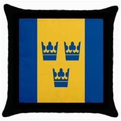 King Queen Crown Blue Yellow Throw Pillow Case (black) by Mariart