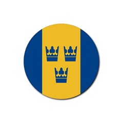 King Queen Crown Blue Yellow Rubber Coaster (round)  by Mariart