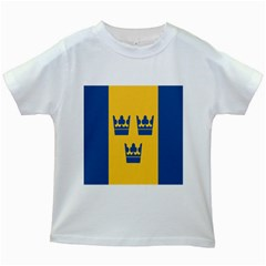 King Queen Crown Blue Yellow Kids White T Shirts by Mariart