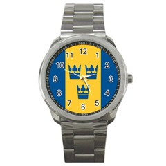 King Queen Crown Blue Yellow Sport Metal Watch by Mariart