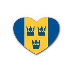 King Queen Crown Blue Yellow Heart Coaster (4 Pack)  by Mariart