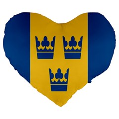 King Queen Crown Blue Yellow Large 19  Premium Heart Shape Cushions by Mariart