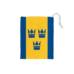 King Queen Crown Blue Yellow Drawstring Pouches (small)  by Mariart