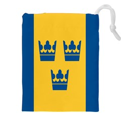 King Queen Crown Blue Yellow Drawstring Pouches (xxl) by Mariart