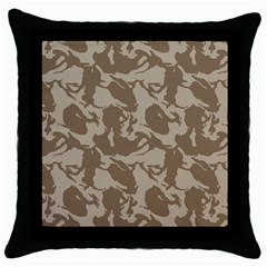 Initial Camouflage Brown Throw Pillow Case (black) by Mariart