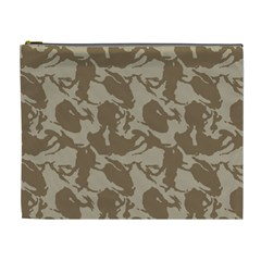 Initial Camouflage Brown Cosmetic Bag (xl) by Mariart