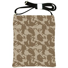 Initial Camouflage Brown Shoulder Sling Bags by Mariart