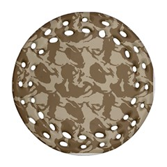 Initial Camouflage Brown Ornament (round Filigree) by Mariart