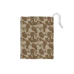 Initial Camouflage Brown Drawstring Pouches (small)  by Mariart