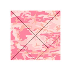 Initial Camouflage Camo Pink Acrylic Tangram Puzzle (4  X 4 ) by Mariart