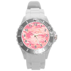 Initial Camouflage Camo Pink Round Plastic Sport Watch (l) by Mariart