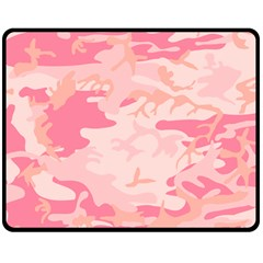 Initial Camouflage Camo Pink Double Sided Fleece Blanket (medium)  by Mariart