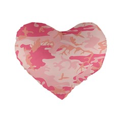 Initial Camouflage Camo Pink Standard 16  Premium Flano Heart Shape Cushions by Mariart
