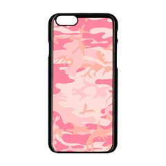Initial Camouflage Camo Pink Apple Iphone 6/6s Black Enamel Case by Mariart