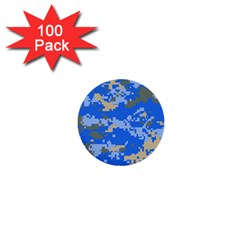 Oceanic Camouflage Blue Grey Map 1  Mini Buttons (100 Pack)  by Mariart