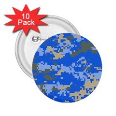 Oceanic Camouflage Blue Grey Map 2 25  Buttons (10 Pack)  by Mariart
