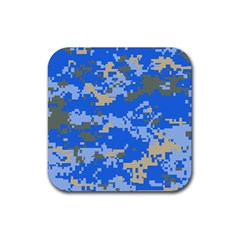 Oceanic Camouflage Blue Grey Map Rubber Square Coaster (4 Pack)  by Mariart