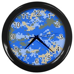 Oceanic Camouflage Blue Grey Map Wall Clocks (black) by Mariart