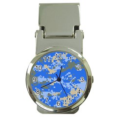 Oceanic Camouflage Blue Grey Map Money Clip Watches by Mariart