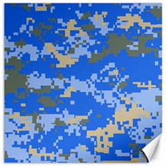 Oceanic Camouflage Blue Grey Map Canvas 20  X 20   by Mariart