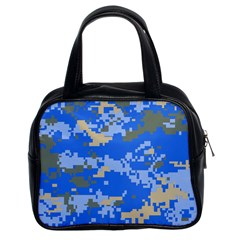 Oceanic Camouflage Blue Grey Map Classic Handbags (2 Sides) by Mariart