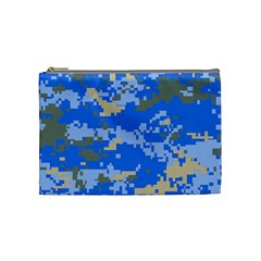 Oceanic Camouflage Blue Grey Map Cosmetic Bag (medium)  by Mariart