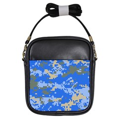 Oceanic Camouflage Blue Grey Map Girls Sling Bags by Mariart
