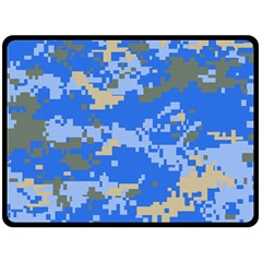 Oceanic Camouflage Blue Grey Map Fleece Blanket (large)  by Mariart