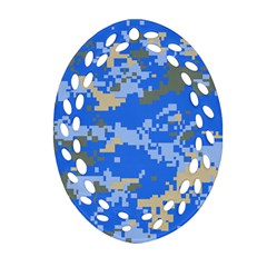 Oceanic Camouflage Blue Grey Map Oval Filigree Ornament (two Sides) by Mariart