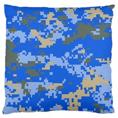 Oceanic Camouflage Blue Grey Map Large Cushion Case (two Sides) by Mariart