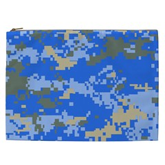 Oceanic Camouflage Blue Grey Map Cosmetic Bag (xxl)  by Mariart