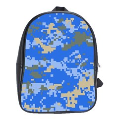Oceanic Camouflage Blue Grey Map School Bags (xl)  by Mariart
