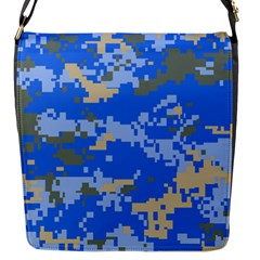 Oceanic Camouflage Blue Grey Map Flap Messenger Bag (s) by Mariart
