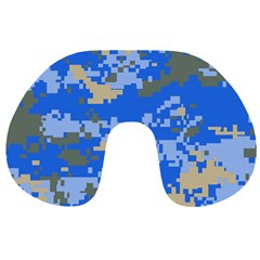 Oceanic Camouflage Blue Grey Map Travel Neck Pillows by Mariart
