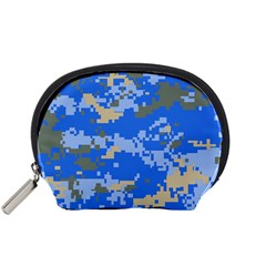 Oceanic Camouflage Blue Grey Map Accessory Pouches (small)  by Mariart